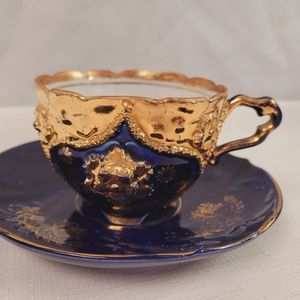 Antique Cobalt Blue & Gold Gilded Tea Cup Set